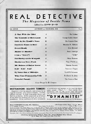 Real Detective December 1932 table of contents