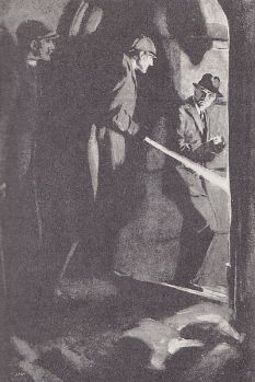 Wiles: Holmes with lantern into crypt (Shoscombe Old Place)